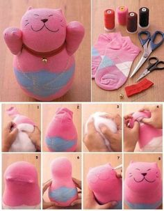 Make A Cat Using Socks - Find Fun Art Projects to Do at Home and Arts and Crafts Ideas