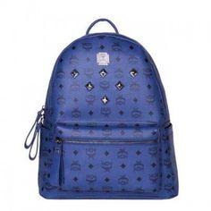 MCM Medium Stark Six Studded Backpack In Navy Blue