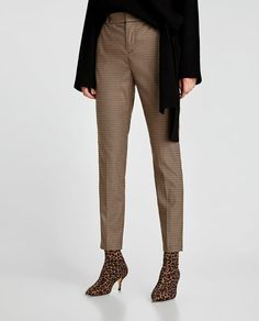 Image 2 of HIGH WAIST CHECKED TROUSERS from Zara