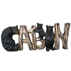 """Ll Home Black Bear Cabin Sign by LL Home. $20.72. Lodging decor. Wildlife decor. Made of poly-resin. Cabin"""" sign with three black bears, letters are made to look like wood that are bent to spell out the word """"cabin"""". Measures 9.5''x3.5''"""
