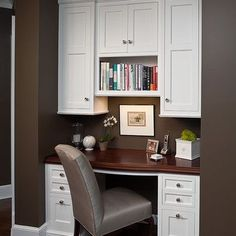 Idea for Desk/Hutch in Kitchen -Houzz Because we both don't need a home office