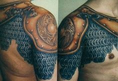 Pauldron and chainmail tattoo