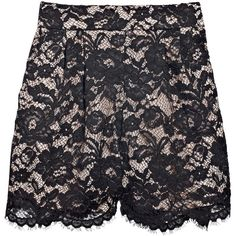 Tibi Lace and silk shorts ($170) ❤ liked on Polyvore featuring shorts, skirts, bottoms, pants, women, lace shorts, scalloped edge shorts, silk shorts, pleated shorts and lacy shorts
