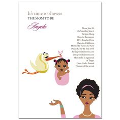 African American Baby Shower Invitations from #Soulfulmoon-   Stork and Mommy