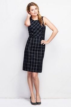 Women's Sleeveless Pattern Woven Wear To Work Sheath Dress - Navy Windowpane Cyber Monday Black Friday Walmart Work Dresses For Women, Simple Dresses, Casual Work Outfits, Pretty Outfits, Modest Fashion, Fashion Outfits, Formal Looks, Dress Images, Dress Patterns