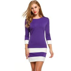 Women Autumn Dress Casual 3/4 Sleeve Patchwork O Neck Pullover Color Block Dress Contrast Color 4 Colors