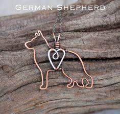German Shepherd Necklace, Copper Dog, Dog Outline, Wire Jewelry by Karismabykarajewelry on Etsy https://www.etsy.com/listing/220396856/german-shepherd-necklace-copper-dog-dog