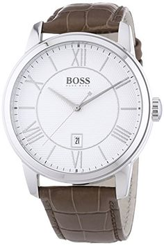 Men's Wrist Watches - Hugo Boss White Dial Stainless Steel Brown Leather Quartz Mens Watch 1512973 *** Click on the image for additional details.
