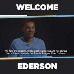 """""""The fans are amazing, the football is amazing and I've always had a dream to play in the Premier League!""""  Ederson Moraes's first CityTV interview: manc.it/2sikxWX"""