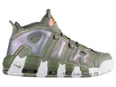 more photos ae5f9 f8219 Officiel Nike Air More Uptempo 917593-001 Chaussure De Basketball Pas Cher  Homme Vert Blanc