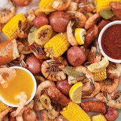Shore is Good Shrimp Boil - Kick off the summer with a tasty seafood meal. - Shore is Good Shrimp Boil – Kick off the summer with a tasty seafood meal. Invite friends and fam - Seafood Boil Recipes, Seafood Dishes, Fish Recipes, Great Recipes, Favorite Recipes, Seafood Buffet, Shrimp Recipes, Copycat Recipes, Shrimp Boil Party
