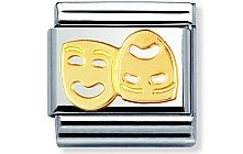 Nomination stainless steel and 18ct gold Masks Classic Charm