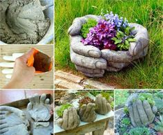 Hand stone planter