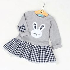 10321a4c9dea Baby Girl Clothes Dress Long Sleeve Cartoon Embroiderie Bunny Princess Dress  Clothes 3 Designs