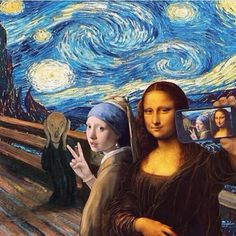 A famous painting ART selfie. The Scream by Edvard Munch, Starry Night by Vincent van Gogh, Girl With a Pearl Earring by Johannes Vermeer and Mona Lisa by Leonardo da Vinci. Memes Arte, Art Memes, Arte Pop, Pop Art, Art Du Collage, Street Art, Mona Lisa Parody, Photocollage, Funny Art