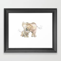 Mother's Love by Melly Terpening #momandbabyelephant #elephantfamily #elephantwatercolor #elephant Choose from a variety of frame styles, colors and sizes to complement your favorite Society6 gallery, or fine art print - made ready to hang. Fine-crafted from solid woods, premium shatterproof acrylic protects the face of the art print, while an acid free dust cover on the back provides a custom finish. All framed art prints include wall hanging hardware.