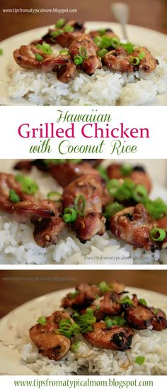 Grilled Hawaiian Chicken with Coconut Rice - Tips from a Typical Mom - - My husband grew up in Hawaii, and he always talks about moving back there. Eating Hawaiian food helps ease his pain a little, because I really don't want to move there . Soup Recipes, Chicken Recipes, Dinner Recipes, Recipies, Recipe Chicken, Rice Recipes, Asian Recipes, Healthy Recipes, Ethnic Recipes