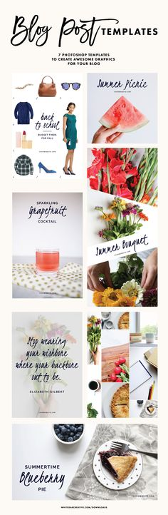 Feminine inspired blog post templates to be used and replicated for any blog design. Featuring flirty font and clean colors, can be customized, 7 templates are only $10, blog post graphics, photoshop graphics, photoshop blog post templates, blog posts, blog design
