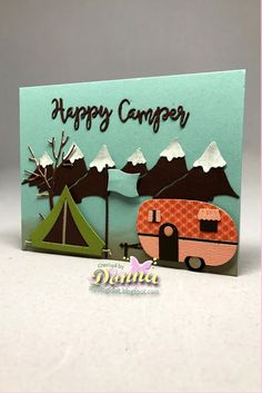 Donna's card using camping Trailer, Camping Clothesline, Camping Phrases and Snowcapped Mountains dies