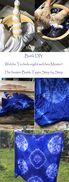Batik - so einfach geht Batiken selbermachen, Step by Step Anleitung und vor allem: Welche Faltung ergibt welches Muster