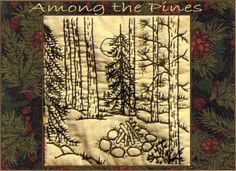 Among the Pines Campfire Redwork Hand by WellingtonHouseDesig