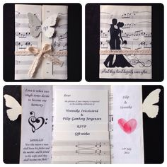 Our final invitations!  Made out of note sheet paper, Eco paper and lace :)