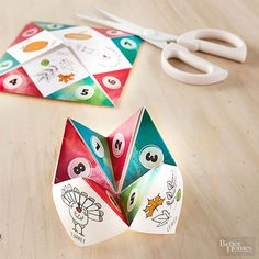 Thanksgiving Crafts for Kids | Remember playing this as a kid? We've remade it in Thanksgiving style where, instead of a fortune, you land on a holiday question or suggestion.
