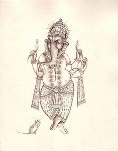 Ganesh Painting Handmade Indian Hindu Elephant God Lord Ganesha Miniature Art Baby Ganesha, Ganesha Art, Lord Ganesha, Mughal Paintings, Indian Paintings, Om Gam Ganapataye Namaha, Rajasthani Art, Indian Goddess, Lion Art