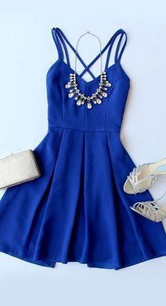Royal Blue Homecoming Dress,Spaghetti Strap Prom Dress,Empire Mini Party Dress