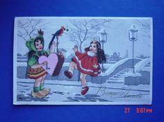 Illustrateur Pariz -2 Enfants Musique Et Danse Dans Paysage Enneigé 1957 ,trés Jolie !!!!!!!!!!!!!!!!!