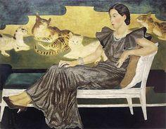 Portrait de Madame Y (with her four cats)   by Tsuguharu Foujita