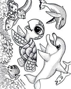 Baby Honu and Friends Coloring Page
