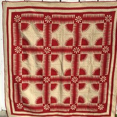 New York Beauty Quilt from the late 19th century . Most unusual compass centers. #newyorkbeauty #vintagequilt #antiquequilt #19thcenturyquilt#antiquequilt