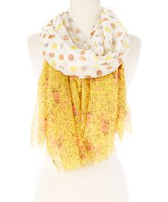Love this Yellow & Ivory Floral Polka Dot Scarf on #zulily! #zulilyfinds