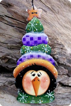 TOO CUTE Penguin  - BOLD, Bright Colors & TONS of Detail  - Hand Cut from 1/8 Baltic Birch Wood  - Measures approximately 5 1/2 tall x 2 1/2