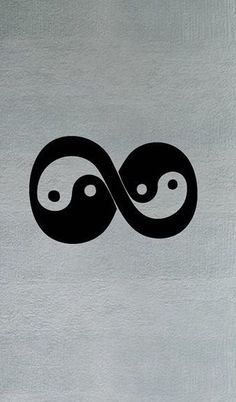 Infinity Yin and Yang. This tattoo with one saying always and the other saying forever.