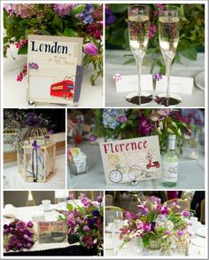 Travel themed centerpieces by By George Florals and Antiques