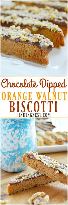 Try these Chocolate Dipped Orange Walnut Biscotti for gift giving or serve at your next holiday gathering such as Thanksgiving, Christmas or New Years! They taste amazing with coffee.