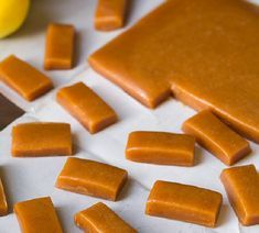 Apple Cider Caramels - Cooking Classy These look delicious Caramel Apple Cider Recipe, Caramel Recipes, Candy Recipes, Apple Recipes, Fall Recipes, Holiday Recipes, Köstliche Desserts, Delicious Desserts, Dessert Recipes