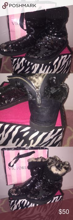 VICTORIA SECRET PINK!  sequin  boots Vs pink black sequin boots very comfy! They look brand new with all sequins still intact It has furry Leopard print inside ! It also has a zipper in the back allows boot to fold up or down PINK Victoria's Secret Other