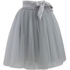 Chicwish Amore Tulle Skirt in Grey ($51) ❤ liked on Polyvore featuring skirts, bottoms, gonne, saias, grey, grey skirt, gray skirt, layered tulle skirt, knee length tulle skirt and elastic waist skirt