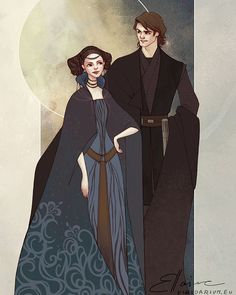 Star Wars Anakin Skywalker and Padme Amidala - It's all about shapes, patterns and colours and I really enjoyed doing this, although it took me three messed up trials before I figured out how I really wanted it to look like. Padme's dress and hair is mostly made up, but it was too much fun to resist doing it:) And because I really liked them in The Clone Wars.