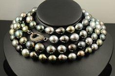 Tahitian Pearls with Black Diamond Clasp