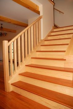 Best Angled Riser Maple Stairs Modern Staircase Anodized 400 x 300