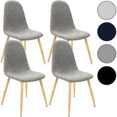 4x Esszimmerstühle Retro Stuhl Stoff Sitzgruppe Designer Stühle Küche Grau  Blau