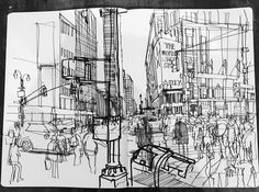 Urban Sketchers: Patrick Vale: from sketchbook to grand scale Gouache, Moleskine, Art Therapy Activities, City Illustration, Hand Sketch, Urban Sketchers, Disney Drawings, Art Journal Pages, Art Sketchbook