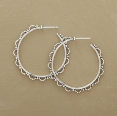 """Designed exclusively for Sundance, these feminine sterling hoops are edged with lacy loops of tiny silver beads. Imported. 1-5/8"""" Dia."""