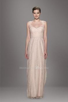 pearl pink contoured neckline sleeveless pleated a line lace covered #floorlengthbridesmaiddress