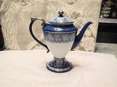 Stunning Large Blue And WhiteWith Silver Trim Bombay Teapot