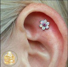 Anatometal helix flat piercing